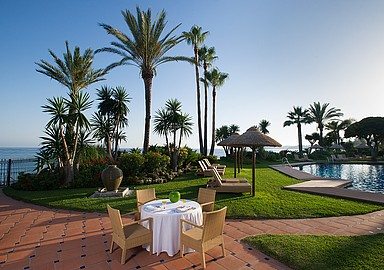 Sunny garden in wellness Hotel Healthouse Las Dunas in Málaga, Spain