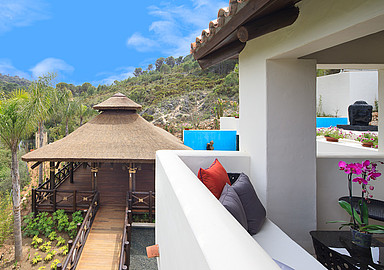 Chill out terrace at Shant Som wellness hotel Spain