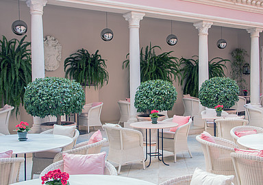 Beautiful patio at Villa Padierna Termas Hotel in Carrataca Spain