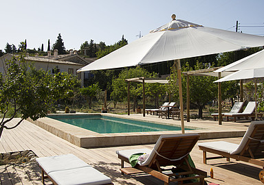 Relaxing pool area for  wellness break at The Pink Pepper Tree Wellness hotel in Spain