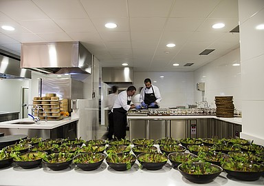 Open kitchen of the Luxury gourmet restaurant in Healthouse Las Dunas in Málaga, Spain