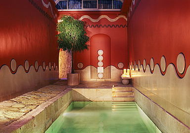 Outdoor thermal water poool for your healthy cure at Villa Padierna Termas Hotel, Spain