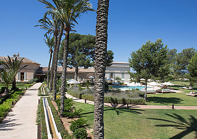 Beautifull gardens of Font Santa Wellness Hotel in Mallorca