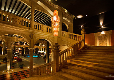 Stairs of the beautiful Spa building Hotel Burgo De Osma offering relaxation programs, Spain