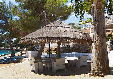Relaxation area at Beach Front Yoga retreat in Mallorca