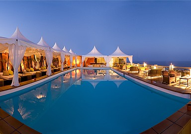 Outside dinner and relaxation at the chill out in Thalasso Hotel Gloria Palace San Agustín, Tenerife, Spain