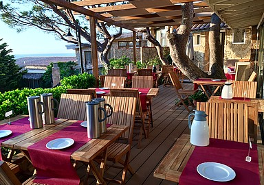 Beautiful terrace of Ayurveda restaurant Port Salvi Hotel, Spain