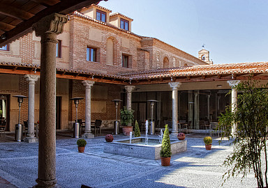 Patio of the Villa de Olmedo Spa and Wellness Hotel where spa breaks are offered through Spa In Spain